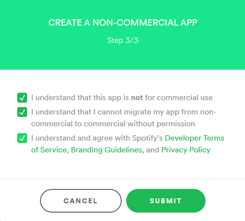 Creating New App in Spotify Developer Dashboard