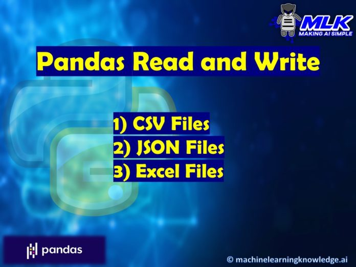 Pandas Write and Read CSV , JSON and Excel File