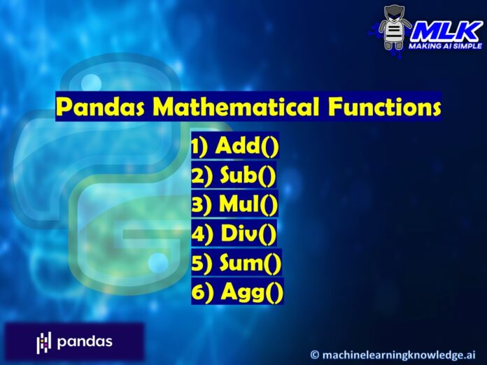 Pandas Mathematical Functions - add(), sub(), mul(), div(), sum(), and agg()