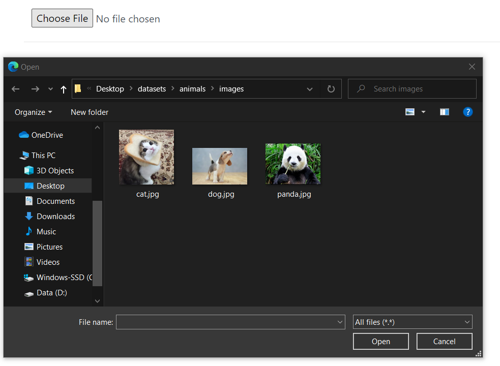 Selecting the image file