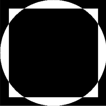 XOR operation on rectangle and circle